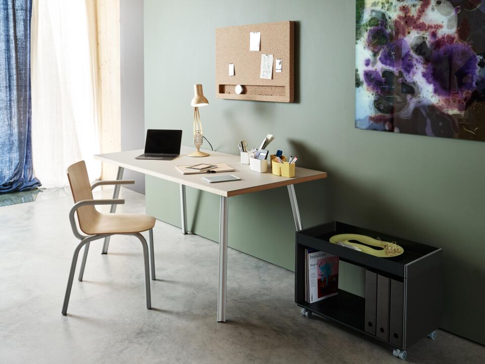 Home office linoleum table with Beam legs